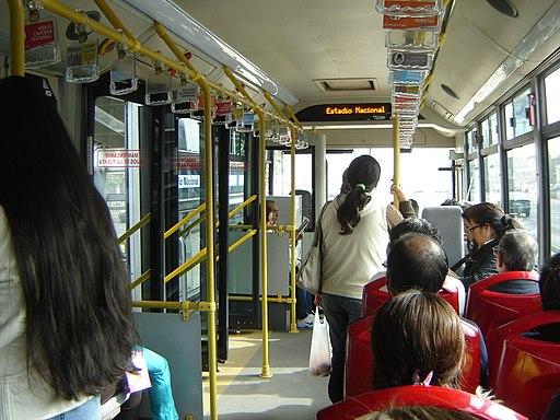 Inside a bus in Lima, Peru