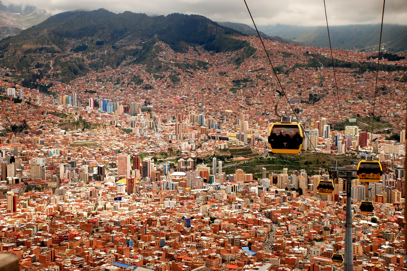four cable cars in La Paz